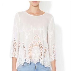 CYNTHIA ROWLEY Woman White Linen Crochet Lace Top